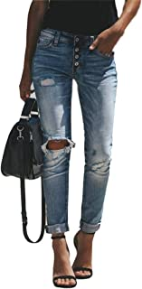 FEESON Women's Vintage Wash Distressed Elastic Slim Button up High Waist Jeans Blue