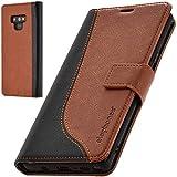 elephones Schutzhülle kompatibel mit Samsung Galaxy Note 9 Hülle Handyhülle Handy-Tasche Wallet Hülle Cover Braun