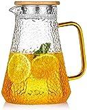 HJW Tetera de Hervidor Útil 1.5 L/L Agua de Vidrio Agua de Vidrio Agua Resistente Al Calor Jarra Artesanal Tetera de Flores de Gran Capacidad Frote de Agua Fría Botella Anti-Lateral con Tapa de Té.
