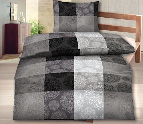 4-Teilig Microfaser Flausch/Fleece Bettwäsche grau/schwarz GRATIS 1x SCHAL GRATIS 2x 135x200 Bettbezug + 2x 80x80 Kissenbezug , weich und kuschelig