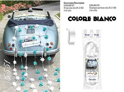 Brizzolari Kit slingers voor auto bruiloft decoraties, wit