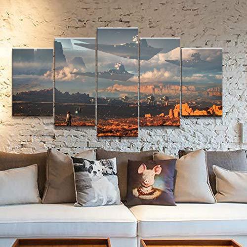 TRDT Druck auf Leinwand 5 Stücke Star Wars Film Bilder Modular Abstrakte Poster Für Wohnkultur Wandkunst Malerei,B,20X35X220X45X220X55X1