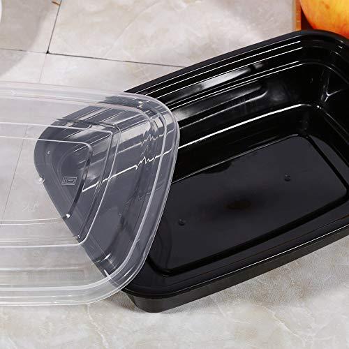 Contenitori sicuri per la preparazione dei pasti, 1000 ml, 10 pezzi in resina in polipropilene (nero)