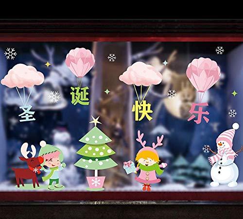 Kerstdecoratie, zelfklevend, voor ramen, statisch, ornamenten, zelfklevend, van glas 14