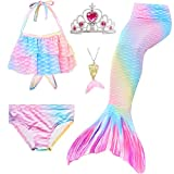 5Pcs Girls Swimsuit Mermaid Tails for Swimming Princess Bikini Bathing Suit Set (no Monofin) for 4T 6T 8T 10T 12T (GB15, 10-12 Years)