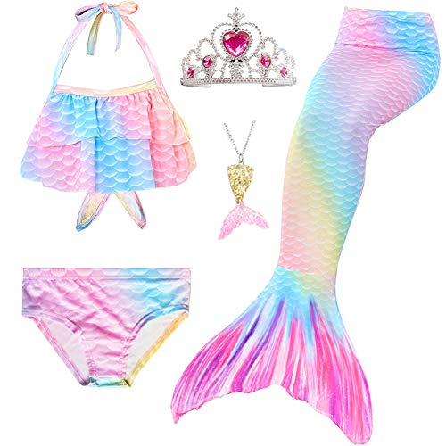 Swimmable Mermaid Tail Bikini 5PCS no Monofin Princess Girls Kids Swimwear Cosplay