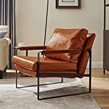 Volans Modern Faux Leather Accent Chair with Black Powder Coated Metal Frame, Single Sofa for Living Room Bedroom, Cognac