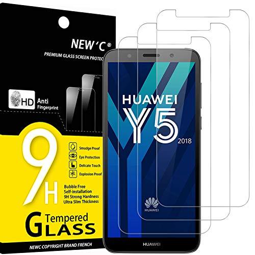 NEW'C 3 Pezzi, Vetro Temperato Compatibile con Huawei Y5 2018, Honor 7S, Pellicola Prottetiva Anti Graffio, Anti-Impronte, Durezza 9H, 0,33mm Ultra Trasparente, Ultra Resistente