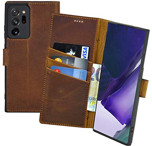 Suncase Book-Style Hülle kompatibel mit Samsung Galaxy Note 20 Ultra Leder Tasche (Slim-Fit) Lederhülle Handytasche Schutzhülle Hülle mit 3 Kartenfächer in antik-Coffee