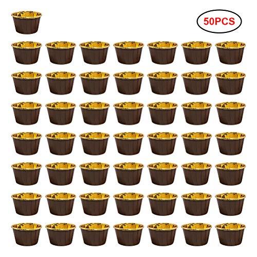 Ouskau Zilveren folie cupcake liner vetdicht, ideaal voor zoete en hartige muffins om mee te bakken in de oven