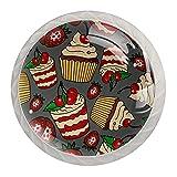Delicious Cupcakes - Pomos con diseño de fresa de cerezo para armarios de cocina (30 mm, mango de cristal, tiradores de cajones para armarios de cocina, armarios, estanterías y cajones)