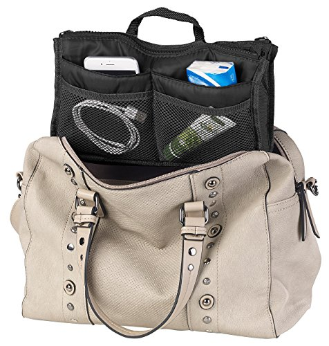 Xcase Organizer Tasche: Handtaschen-Organizer m. 13 Fächern, 29 x 17 x 8 cm, waschbar, schwarz (Bag in Bag)