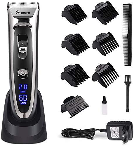 Haarschneidemaschine Herren,Haarschneider Haarschneidegerät für Akku- und Netzbetrieb, Haartrimmer mit Keramik-/Titaniumklingen Männer Haar Rasierer(Schwarz 688 B)