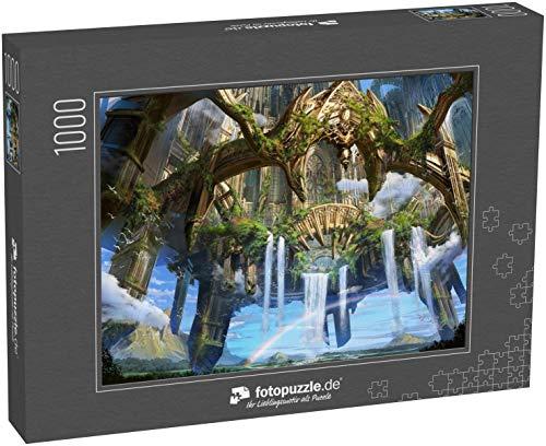 fotopuzzle.de Puzzle 1000 Teile Digitale Illustration der Phantasie mittelalterliche Umwelt Landschaft Konzept Hintergrund in der antiken Ruine Stadt schwebt in den Himmel
