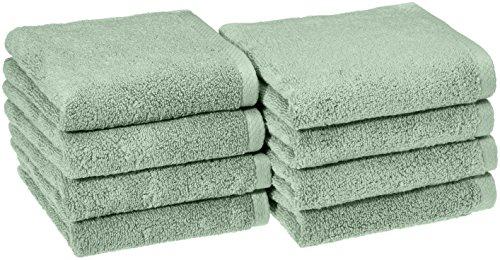 Amazon Basics Quick-Dry, Luxurious, Soft, 100% Cotton Towels, Seafoam Green - Set of 8 Hand Towels