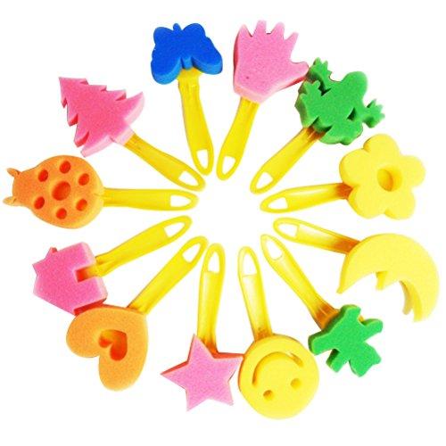 TOYMYTOY 12 stücke Malerei Schwamm Pinsel Set Kreative Blume Stempel DIY Kunst Malerei Pinsel Werkzeuge mit Roller Runde Flache Pinsel für Kinder Kinder zeichnung