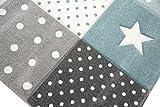 Kinderteppich Teppich Kinderzimmer Babyteppich Stern Mond in Blau Türkis Grau Creme Größe 120x170 cm - 4