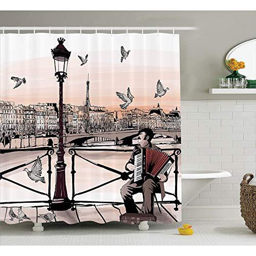 ZLWSSA Musik Duschvorhang Akkordeonist Spielen Paris Street Urban Europäischen Berühmte Stadt Stadt Grafikszene Badezimmer Zubehör 180x180cm