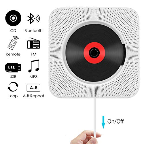 CD Player, Wrcibo Wall Mountable Bluetooth CD Player Speaker Upgraded Version with Remote HiFi...