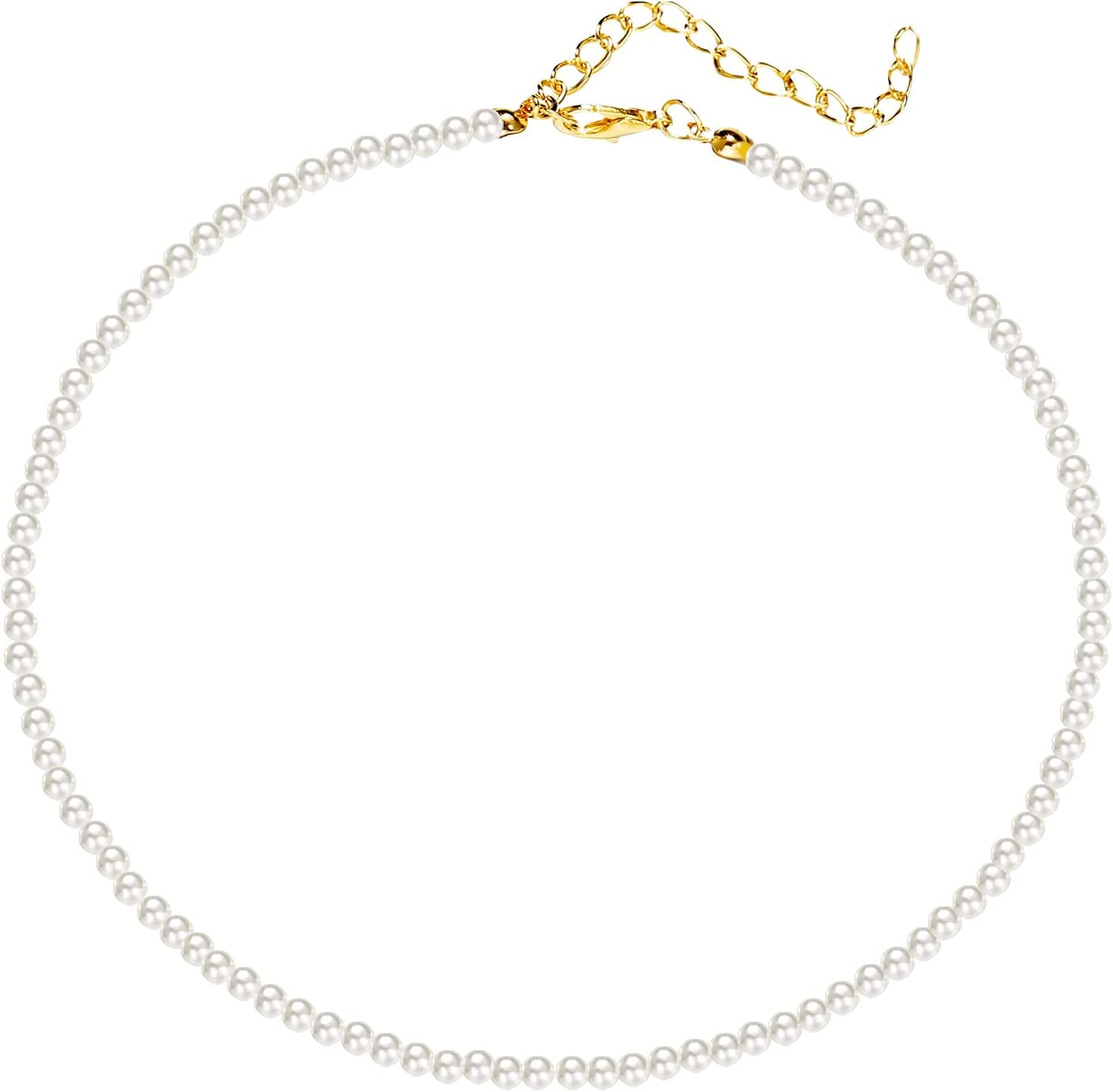 Gold Plated Pendant Necklace,Adjustable Vintage Imitation Pearl Beaded Choker Chain Necklaces Collar Clavicle Chain Multilayer Initial Diamonds For Women Charm Gifts (white, 15.1