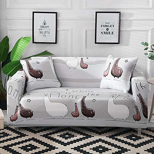 Funda Sofá 190-230 cm con Funda de Cojín de 3 Piezas 45x45 cm (Pack de 4), Poliéster Stretch Cubre Sofá Funda Protector Antideslizante Sofa Couch Cover (Los Dibujos Animados de Animales/3 Asientos)