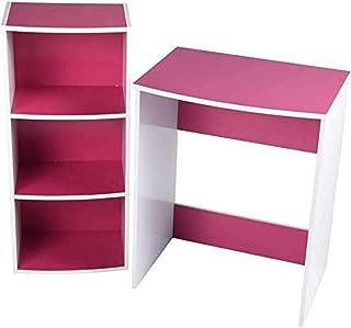 MEUBLE COSY ANCUL Pink R1 Bureau Informatique Avec Rangement 3 étagères Table d'ordinateur, MDF, Rose, 60x45x75/40x29x89cm