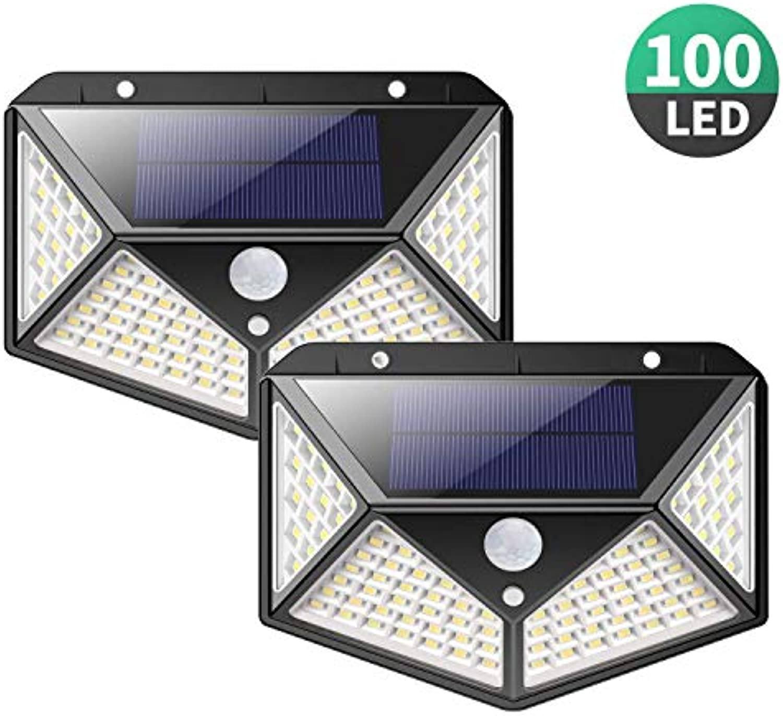 Solarleuchte für Auen,[2 Stück] 100 LED Solarlampen Auen mit Bewegungsmelder [1800mAh] Superhelle Solarlicht 270°Solar Beleuchtung Wasserdichte 3 Modi für Garten