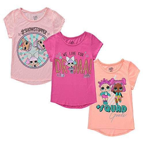 L.O.L. Surprise! Girls 3 Pack Squad Goals, We Live for Drama Stop Stopper Short Sleeve Tee T-Shirt Multi 7/8(M)