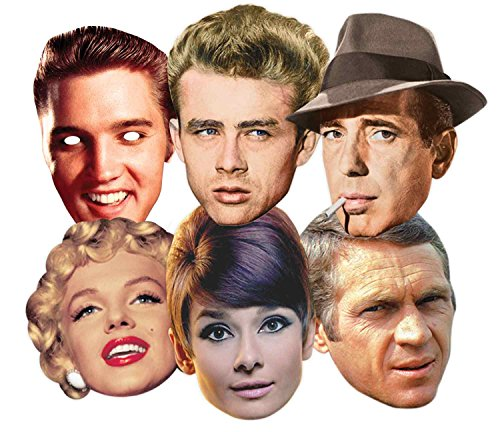 Star Cutouts Ltd SMP67 Audrey Hepburn/Steve McQueen/Monroe/James Dean/Elvis/Humphrey Bogart, Hollywood/Party-Maske, Einheitsgröße