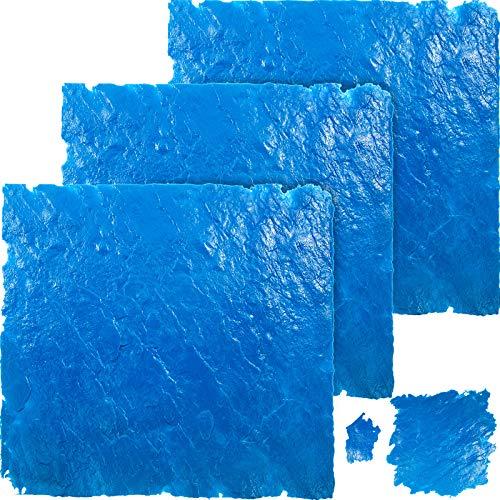 """VEVOR Concrete Texturing Skin, 36""""x36"""" Concrete Stamps Mats Set, Polyurethane Concrete Stamping Mats, Blue Slate Concrete Stamp, 4 PCS Realistic Concrete Texture Skin Mats for Cement Walls/Floors"""