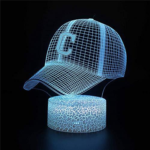 Gorra de béisbol B 3D luz nocturna, ilusión óptica, lámpara de ilusión óptica, 16 colores, regulable, con control táctil con base de grieta+mando a distancia para niños y niñas
