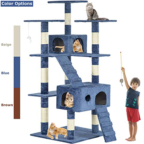New Navy Blue 73quot Cat Tree Scratcher Play House Condo Furniture Post Pet House