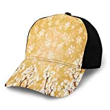 Hip Hop Sun Hat Baseball Cap,Trees Blossoms Buds Flowers of Spring Season Pedals Bodies In Wind Image,For Men&Women