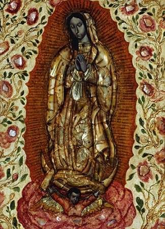 Feelingathome- IMPRESION-SOBRE-LIENZO-100% algodon-La-Virgen-de-Guadalupe-cm74x55-cuadro-reproduccion-en-lienzo-ENMARCADO