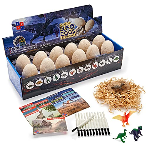 Dino Eggs Dig Kit - Excavation Dinosaur Fossil Dig Kit for Kids with 12 Break Open Eggs, Chisel Tools & Illustration Learning Cards - Fun Educational Surprise Toys for Boys & Girls - Ages 6+