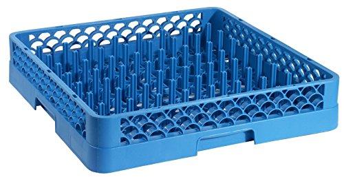 Geschirrspülkorb TELLER, grobmaschig, für Teller und kleine Tabletts bis 46 cm, aus blauem Polypropylen, 66075-F, hitzeresistent bis +120°C / 50 x 50 x 10 cm | ERK
