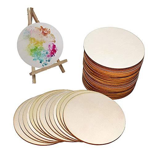 Wohlstand 25x Rodajas de Madera círculos Maderas Naturales para artesanía de Bricolaje Manualidades Discos de Madera Sin...