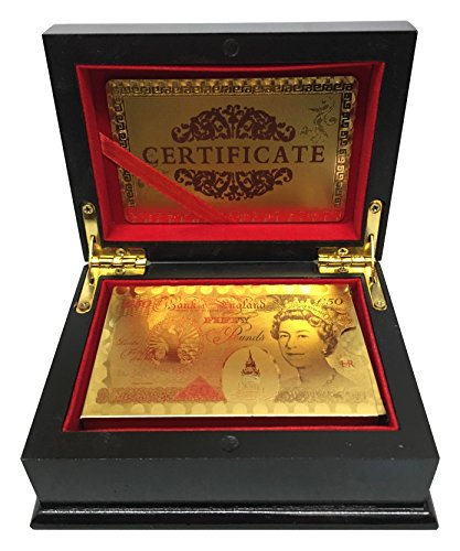 SystemsEleven 50 Pound Gold Playing Cards 24k Carat Gold Plated Game Poker Gift Box Deck (Deluxe Quality Box) by SystemsEleven