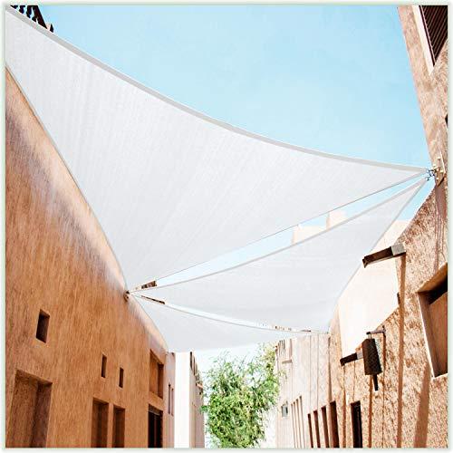 ColourTree Dreieckiges Sonnensegel, 3,5 x 3,5 m, Weiß, UV-beständig, strapazierfähig, Handelsqualität, wir fertigen individuelle Größe