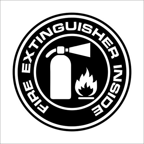 Fire Extinguisher Inside Decal Sticker Car, Truck, Window - Multiple Sizes and Colors - Die Cut No Background (Black, 4')