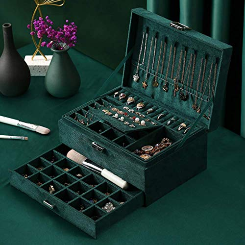 NFRADFM Joyero, caja de joyería de franela de tres capas, con caja de almacenamiento de joyería de espejo, pendientes collar caja de almacenamiento de joyería