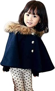 Kids Girls Wool Blend Hoodie Capes Poncho Children Fall Winter Outwear