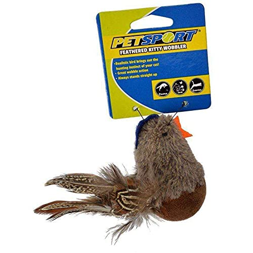 PetSport 70136 Feathered Kitty Wobbler Cat Toy - Assorted Styles