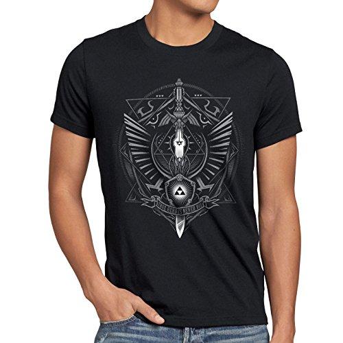 style3 Hyrule Wappen Herren T-Shirt link Gamer, Größe:M, Farbe:Schwarz