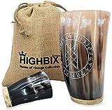 HIGHBIX Premium Wikinger Trinkhorn Holzsockel Glas Wikinger Horn Glas für Met, Ale & Bier - Original Mittelalter mit klassischem Jutebeutel (1)