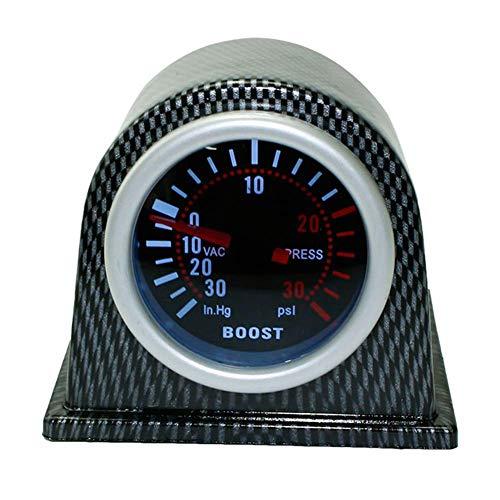 WERTAZ Auto Universal Indicador de Presión de Turbo Set 0-30PSI Digital Pointer Pantalla, Vacuómetro Kit Coche Modificación Moto Piezas para Coche Camión 2in 52mm - Negro, Free Size