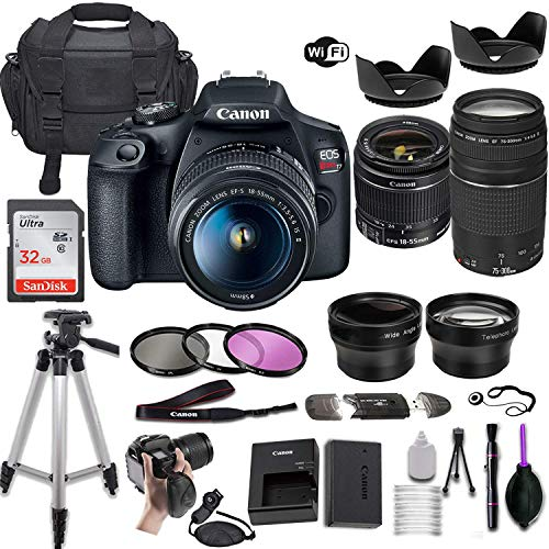 Canon EOS Rebel T7 DSLR Camera w/EF-S 18-55mm f/3.5-5.6 is II & EF 75-300mm f/4-5.6 III Lens + Wide-Angle and Telephoto Lenses + Portable Tripod + Memory Card + Deluxe Accessory Bundle (Renewed)
