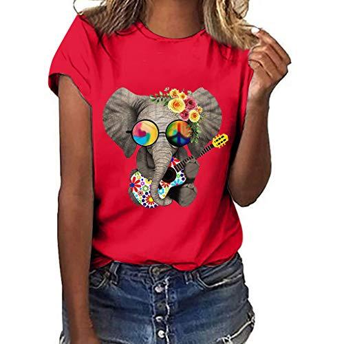Xmiral Damen Ärmellos/Kurzarm Bluse Tops Elefant Drucken Weste T-Shirt mit Rundkragen Niedlich Slim Fit Lässig Wild Shirt(b Rot,S)