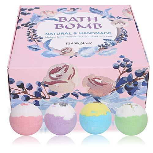 Bath Bombs Gift Set 4pcs, Aceites esenciales orgánicos veganos Bombas de baño para spa en casa para hidratar el cuerpo Hidratar efervescentes Bombas de baño de burbujas Bombas de spa Regalos para niño