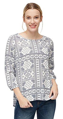 TOM TAILOR Damen Casual Print Blouse Shirt Bluse, Elfenbein (Whisper White 8210), 44
